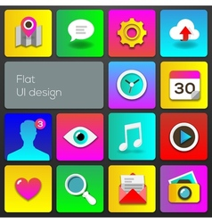Flat UI design trend multicolored set icons vector image vector image