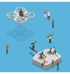 Flying quadcopter isometric flat concept vector image