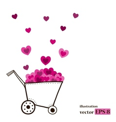 Garden cart with pink hearts vector
