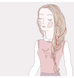 girl plait pink vector image