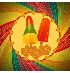 Ice lollies on vintage border and swirl vector