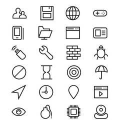 Internet line icons 3 vector