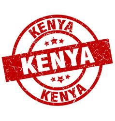 kenya red round grunge stamp vector image