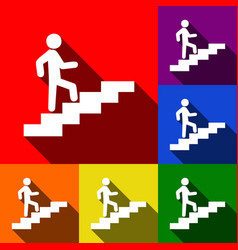 Man on stairs going up set of icons with vector
