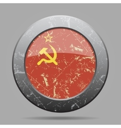 Metal button with soviet union flag - grunge style vector