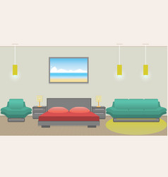 modern bedroom interior including furniture vector image vector image