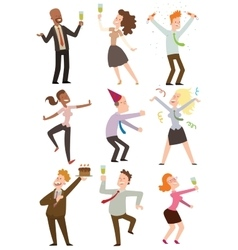 Office party people set vector image vector image