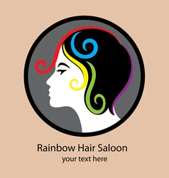 Rainbow hair saloon logo vector