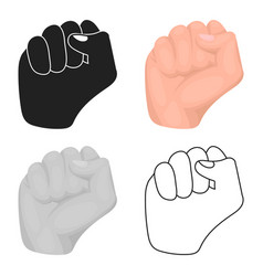 Raised fist icon in cartoon style isolated on vector