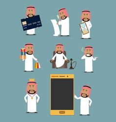 Rich arab businessman cartoon character set vector