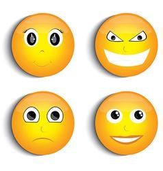 Smiley face set vector image vector image