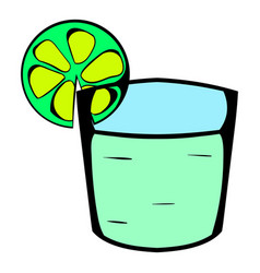 Tequila in a glass with lime icon cartoon vector