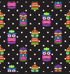 tiki mask seamless polka dot dark pattern vector image