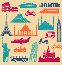 Tourism icons set vector image vector image