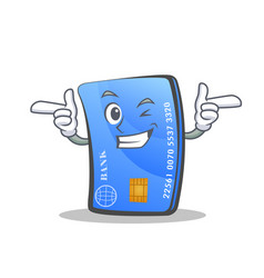 Wink credit card character cartoon vector