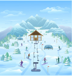 winter vacation outdoor template vector image vector image