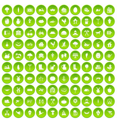 100 farm icons set green circle vector