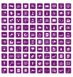 100 telecommunication icons set grunge purple vector