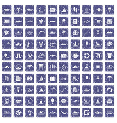 100 water recreation icons set grunge sapphire vector image vector image