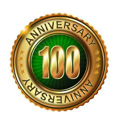 100 years anniversary golden label vector image