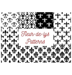 Black and white fleur-de-lis seamless patterns set vector