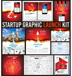 Startup graphic lauch kit with landing webpages vector