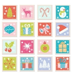 Set of merry christmas happy new years vector