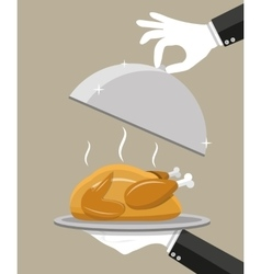 Waiter hand with silver cloche and roasted chicken vector