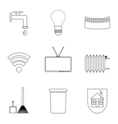 Domestic services icon lineart set vector