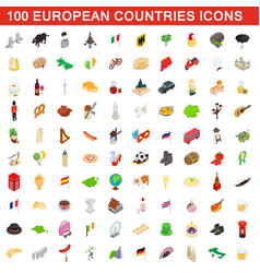 100 european countries icons set isometric style vector