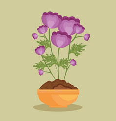 cute flower in pot icon vector image
