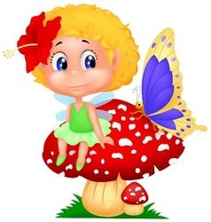 Baby fairy elf cartoon sitting on mushroom vector image