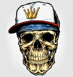 Skull with bandana and cap vector