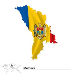 Map of Moldova with flag vector image