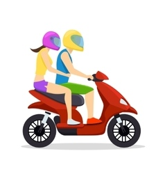 Young man and woman couple riding on scooter vector