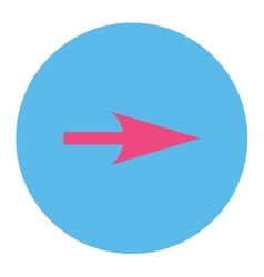 Arrow axis x flat pink and blue colors round vector