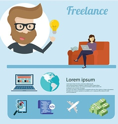 Freelancer infographics and icons around flat vector