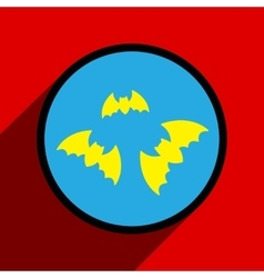 Flat with shadow icon bats on a colored background vector