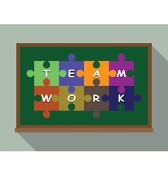 Team work concept puzzle vector