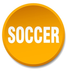 Soccer orange round flat isolated push button vector