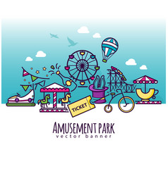Amusement park icons attraction banner vector