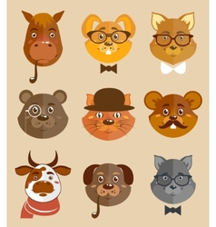 Animal hipsters icons vector
