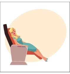 Beautiful blond woman sleeping in airplane vector