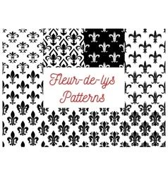 Black and white fleur-de-lis seamless patterns set vector