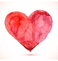 Bright red watercolor isolated heart vector