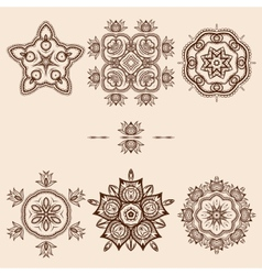 Brown Flower Pattern Pack vector image vector image