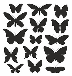 butterflies silhouette set vector image