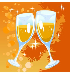 Christmas orange background with two glasses vector image vector image
