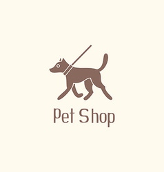 Cute pet shop logo with dog walking on leash vector