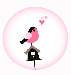 Cute Valentine Bird with a Birdhouse vector image vector image